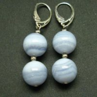 Gem Of Ecology!! Natural Blue Lace Agate Round Beads Dangle 925 Silver Leverback Earrings | Natural genuine Gemstone jewelry. Buy crystal jewelry, handmade handcrafted artisan jewelry for women.  Unique handmade gift ideas. #jewelry #beadedjewelry #beadedjewelry #gift #shopping #handmadejewelry #fashion #style #product #jewelry #affiliate #ad