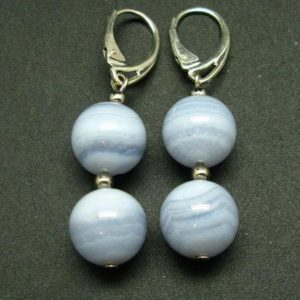 Shop Blue Lace Agate Earrings! Gem of Ecology!!  Natural Blue Lace Agate Round Beads Dangle 925 Silver Leverback Earrings   Natural genuine Blue Lace Agate earrings. Buy crystal jewelry, handmade handcrafted artisan jewelry for women.  Unique handmade gift ideas. #jewelry #beadedearrings #beadedjewelry #gift #shopping #handmadejewelry #fashion #style #product #earrings #affiliate #ad