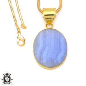Shop Blue Lace Agate Pendants! Blue Lace Agate 24K Gold Plated Pendant 3MM Italian Snake Chain GPH1496 | Natural genuine Blue Lace Agate pendants. Buy crystal jewelry, handmade handcrafted artisan jewelry for women.  Unique handmade gift ideas. #jewelry #beadedpendants #beadedjewelry #gift #shopping #handmadejewelry #fashion #style #product #pendants #affiliate #ad