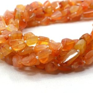 """Shop Carnelian Chip & Nugget Beads! 16"""" Long Strand Natural Carnelian Gemstone,Smooth Nuggets Shape Beads, Size 4×7-8×11 MM Orange Nuggets Making Jewelry Wholesale Price 