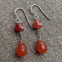 Carnelian Briolette Dangle Earrings 925 Sterling Silver,  Orange Earrings,  Briolette Earrings,  Gemstone Earrings,  Handmade By Ashanti | Natural genuine Gemstone jewelry. Buy crystal jewelry, handmade handcrafted artisan jewelry for women.  Unique handmade gift ideas. #jewelry #beadedjewelry #beadedjewelry #gift #shopping #handmadejewelry #fashion #style #product #jewelry #affiliate #ad