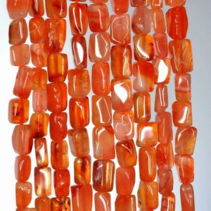 Shop Carnelian Bead Shapes! 5×4-9x5mm Red Carnelian Gemstone Red Orange Rectangle Tube Loose Beads 14 inch Full Strand (90185012-893) | Natural genuine other-shape Carnelian beads for beading and jewelry making.  #jewelry #beads #beadedjewelry #diyjewelry #jewelrymaking #beadstore #beading #affiliate #ad