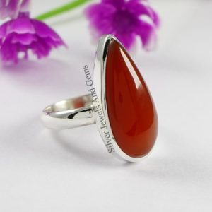 Shop Carnelian Rings! Natural Carnelian Ring-Handmade Silver Ring-925 Sterling Silver Ring-Gift for her-Teardrop Carnelian Ring-Promise Ring-Long Teardrop Ring | Natural genuine Carnelian rings, simple unique handcrafted gemstone rings. #rings #jewelry #shopping #gift #handmade #fashion #style #affiliate #ad