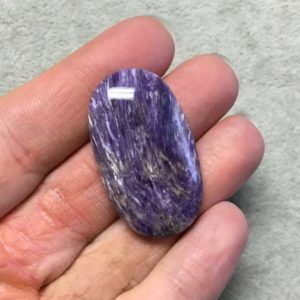 """Shop Charoite Stones & Crystals! OOAK Natural Purple Charoite Oblong Oval Shaped Flat Back Cabochon """"17"""" – Measuring 22mm x 39mm, 7mm Dome Height – High Quality Gemstone Cab 