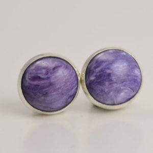 Shop Charoite Earrings! charoite 8mm sterling silver stud earring pair   Natural genuine Charoite earrings. Buy crystal jewelry, handmade handcrafted artisan jewelry for women.  Unique handmade gift ideas. #jewelry #beadedearrings #beadedjewelry #gift #shopping #handmadejewelry #fashion #style #product #earrings #affiliate #ad