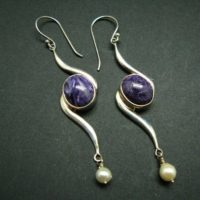 Charoite Aaa Quality Sterling Silver Earrings From Russia – 2.8"
