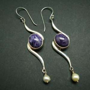 """Shop Charoite Earrings! Charoite AAA Quality Sterling Silver Earrings From Russia – 2.8""""   Natural genuine Charoite earrings. Buy crystal jewelry, handmade handcrafted artisan jewelry for women.  Unique handmade gift ideas. #jewelry #beadedearrings #beadedjewelry #gift #shopping #handmadejewelry #fashion #style #product #earrings #affiliate #ad"""