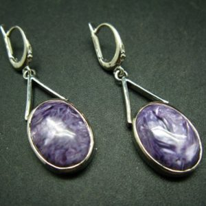 """Shop Charoite Earrings! Charoite AAA Quality Sterling Silver Earrings From Russia – 1.9""""   Natural genuine Charoite earrings. Buy crystal jewelry, handmade handcrafted artisan jewelry for women.  Unique handmade gift ideas. #jewelry #beadedearrings #beadedjewelry #gift #shopping #handmadejewelry #fashion #style #product #earrings #affiliate #ad"""