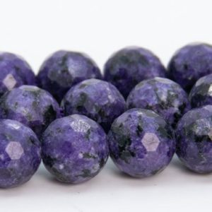 """Shop Charoite Faceted Beads! 8MM Deep Purple Charoite Beads Grade A Gemstone Micro Faceted Round Loose Beads 15"""" Bulk Lot Options (109613) 