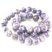 Charoite Aaa Quality Necklace Round Beads From Russia – 19"
