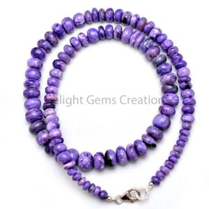 Shop Charoite Necklaces! Charoite Beaded Necklace, 5-9mm Purple Charoite Smooth Rondelle Beads Necklace, Aaa++ Charoite Designer Necklace Jewelry- 18 Inches Necklace | Natural genuine Charoite necklaces. Buy crystal jewelry, handmade handcrafted artisan jewelry for women.  Unique handmade gift ideas. #jewelry #beadednecklaces #beadedjewelry #gift #shopping #handmadejewelry #fashion #style #product #necklaces #affiliate #ad
