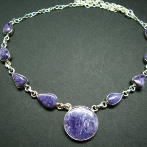 """Shop Charoite Necklaces! Lilac Stone!!!  Stunning  Nine Stones Silky Charoite AAA Quality Sterling Silver Necklace From Russia – 22"""" 