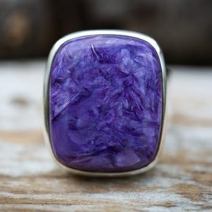 Shop Charoite Rings! Charoite Ring 10 – Large Charoite Sterling Silver Ring size 10 – Siberian Charoite – Unisex Charoite Ring – Sterling Silver Charoite Ring 10 | Natural genuine Charoite rings, simple unique handcrafted gemstone rings. #rings #jewelry #shopping #gift #handmade #fashion #style #affiliate #ad