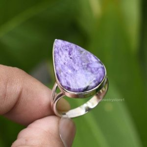 Shop Charoite Rings! Natural Charoite Ring, Sterling Silver Ring, Charoite 15x23mm Pear Gemstone Ring, Gemstone Ring, Silver Ring, Handmade Ring, Size 9 US, Etsy | Natural genuine Charoite rings, simple unique handcrafted gemstone rings. #rings #jewelry #shopping #gift #handmade #fashion #style #affiliate #ad