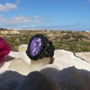 Shop Charoite Rings! Energy Healing Crystal Jewelry Charoite Ring, One of a Kind Spiritual Gift for Her, Macrame Natural Stone Ring. | Natural genuine Charoite rings, simple unique handcrafted gemstone rings. #rings #jewelry #shopping #gift #handmade #fashion #style #affiliate #ad