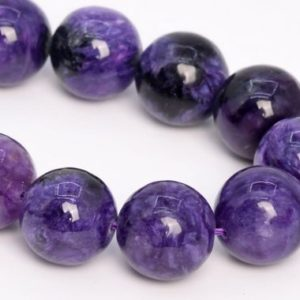 """Shop Charoite Round Beads! 14MM Deep Color Charoite Beads Russia Grade A+ Genuine Natural Gemstone Half Strand Round Loose Beads 7.5"""" Bulk Lot Options (108989h-2839) 