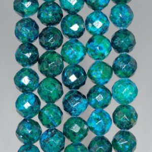 Shop Chrysocolla Faceted Beads! 10mm Chrysocolla Quantum Quattro Gemstone Faceted Round Loose Beads 15 Inch Full Strand (90182623-a142)   Natural genuine faceted Chrysocolla beads for beading and jewelry making.  #jewelry #beads #beadedjewelry #diyjewelry #jewelrymaking #beadstore #beading #affiliate #ad