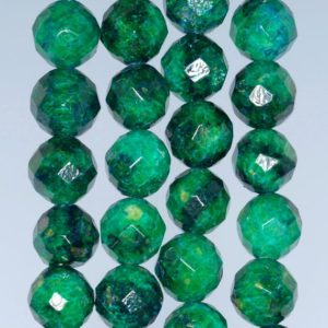 Shop Chrysocolla Faceted Beads! 14MM  Chrysocolla Quantum Quattro Gemstone Faceted Round Loose Beads 7.5 inch Half Strand (90182722-A137)   Natural genuine faceted Chrysocolla beads for beading and jewelry making.  #jewelry #beads #beadedjewelry #diyjewelry #jewelrymaking #beadstore #beading #affiliate #ad