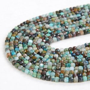 Shop Chrysocolla Faceted Beads! 2MM Natural Chrysocolla Gemstone Grade A Micro Faceted Square Cube Loose Beads 15 inch Full Strand (80008640-P9)   Natural genuine faceted Chrysocolla beads for beading and jewelry making.  #jewelry #beads #beadedjewelry #diyjewelry #jewelrymaking #beadstore #beading #affiliate #ad