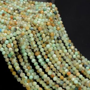 Shop Chrysocolla Faceted Beads! 3MM Shattuckite Chrysocolla Gemstone Genuine Light Green Blue Micro Faceted Round Grade Aa Beads 15.5inch BULK LOT (80010201-A193)   Natural genuine faceted Chrysocolla beads for beading and jewelry making.  #jewelry #beads #beadedjewelry #diyjewelry #jewelrymaking #beadstore #beading #affiliate #ad