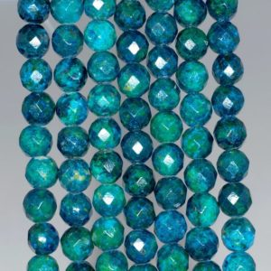 Shop Chrysocolla Faceted Beads! 8mm Chrysocolla Quantum Quattro Gemstone Faceted Round Loose Beads 7.5 Inch Half Strand (90183139-a141)   Natural genuine faceted Chrysocolla beads for beading and jewelry making.  #jewelry #beads #beadedjewelry #diyjewelry #jewelrymaking #beadstore #beading #affiliate #ad