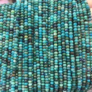 Shop Chrysocolla Faceted Beads! A+  Chrysocolla Faceted Beads, Natural Gemstone Beads,  Nice Cut Rondelle Stone Beads 2x3mm 15''   Natural genuine faceted Chrysocolla beads for beading and jewelry making.  #jewelry #beads #beadedjewelry #diyjewelry #jewelrymaking #beadstore #beading #affiliate #ad