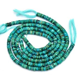 Shop Chrysocolla Faceted Beads! Natural AAA+ Chrysocolla Gemstone 6mm Faceted Heishi Beads   Chrysocolla Semi Precious Gemstone Wheel / Tyre Rondelle Beads   13inch Strand   Natural genuine faceted Chrysocolla beads for beading and jewelry making.  #jewelry #beads #beadedjewelry #diyjewelry #jewelrymaking #beadstore #beading #affiliate #ad