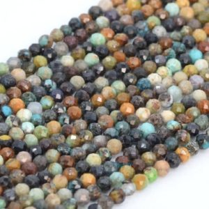 """Shop Chrysocolla Faceted Beads! SALE 2MM Multicolor Chrysocolla Beads A Genuine Natural Gemstone Full Strand Faceted Round Loose Beads 15.5"""" Bulk Lot Options (107806-2534)   Natural genuine faceted Chrysocolla beads for beading and jewelry making.  #jewelry #beads #beadedjewelry #diyjewelry #jewelrymaking #beadstore #beading #affiliate #ad"""