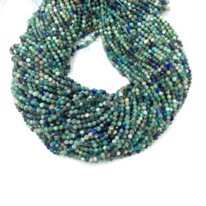 Shop Chrysocolla Faceted Beads! Tiny Chrysocolla Micro Faceted Beads 2 3 4mm Natural Chrysocolla Round Green Blue Gemstone Small Chrysocolla Semi Precious Spacer Beads   Natural genuine faceted Chrysocolla beads for beading and jewelry making.  #jewelry #beads #beadedjewelry #diyjewelry #jewelrymaking #beadstore #beading #affiliate #ad