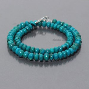 Shop Chrysocolla Necklaces! Aaa++ Chrysocolla Beaded Necklace, 7-8mm Blue Chrysoocolla Rondelle Necklace, Womens Handmade Chrysocolla Necklace, Sterling Silver Necklace | Natural genuine Chrysocolla necklaces. Buy crystal jewelry, handmade handcrafted artisan jewelry for women.  Unique handmade gift ideas. #jewelry #beadednecklaces #beadedjewelry #gift #shopping #handmadejewelry #fashion #style #product #necklaces #affiliate #ad