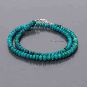 Shop Chrysocolla Necklaces! Blue Chrysocolla Natural Gemstone Beaded Necklace, 5mm-5.5mm Chrysocolla Smooth Rondelle Bead Necklace, 925 Silver Clasp Beaded Jewelry | Natural genuine Chrysocolla necklaces. Buy crystal jewelry, handmade handcrafted artisan jewelry for women.  Unique handmade gift ideas. #jewelry #beadednecklaces #beadedjewelry #gift #shopping #handmadejewelry #fashion #style #product #necklaces #affiliate #ad