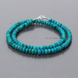 Shop Chrysocolla Necklaces! Genuine Chrysocolla Beaded Necklace, 5.5-6mm Blue Chrysocolla Smooth Roundel Beads Necklace, women's-party Wear Necklace Jewelry Gift For Her | Natural genuine Chrysocolla necklaces. Buy crystal jewelry, handmade handcrafted artisan jewelry for women.  Unique handmade gift ideas. #jewelry #beadednecklaces #beadedjewelry #gift #shopping #handmadejewelry #fashion #style #product #necklaces #affiliate #ad