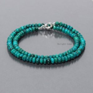 Shop Chrysocolla Necklaces! Natural Chrysocolla Beaded Necklace, 5-5.5mm Chrysocolla Smooth Roundel Beads Necklace, Aaa Green-blue Chrysocolla Gem Necklace Gift For Her | Natural genuine Chrysocolla necklaces. Buy crystal jewelry, handmade handcrafted artisan jewelry for women.  Unique handmade gift ideas. #jewelry #beadednecklaces #beadedjewelry #gift #shopping #handmadejewelry #fashion #style #product #necklaces #affiliate #ad