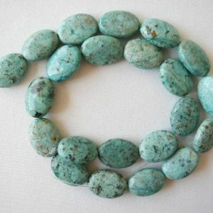 """18mm chrysocolla flat oval beads 16"""" strand 2394 