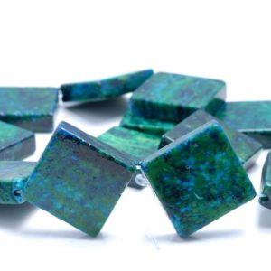 Shop Chrysocolla Bead Shapes! 30MM  Chrysocolla Quantum Quattro Gemstone Square Diagonal Loose Beads 7 inch Half Strand (90182999-A141)   Natural genuine other-shape Chrysocolla beads for beading and jewelry making.  #jewelry #beads #beadedjewelry #diyjewelry #jewelrymaking #beadstore #beading #affiliate #ad