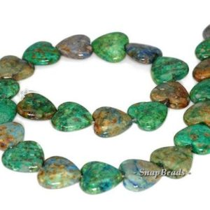 Shop Chrysocolla Bead Shapes! FREE USA Ship 18mm Chrysocolla Gemstone Green Blue Love Heart 18mm Loose Beads 7.5 inch Half Strand (90111797-210a)   Natural genuine other-shape Chrysocolla beads for beading and jewelry making.  #jewelry #beads #beadedjewelry #diyjewelry #jewelrymaking #beadstore #beading #affiliate #ad