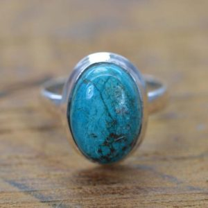 Shop Chrysocolla Rings! Chrysocolla 925 Sterling Silver Gemstone Ring | Natural genuine Chrysocolla rings, simple unique handcrafted gemstone rings. #rings #jewelry #shopping #gift #handmade #fashion #style #affiliate #ad
