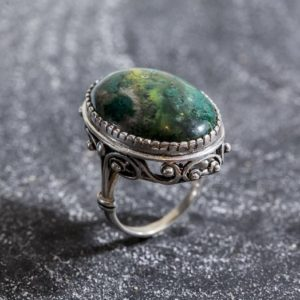 Shop Chrysocolla Rings! Chrysocolla Ring, Natural Chrysocolla, Statement Ring, Large Vintage Ring, Artistic Ring, Blue Ring, Vintage Silver Ring, Chrysocolla | Natural genuine Chrysocolla rings, simple unique handcrafted gemstone rings. #rings #jewelry #shopping #gift #handmade #fashion #style #affiliate #ad