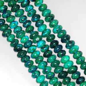 Shop Chrysocolla Rondelle Beads! 8x5mm Turquoise Chrysocolla Quantum Quattro Gemstone Rondelle Loose Beads 7.5 inch Half Strand (90143011-B61) | Natural genuine rondelle Chrysocolla beads for beading and jewelry making.  #jewelry #beads #beadedjewelry #diyjewelry #jewelrymaking #beadstore #beading #affiliate #ad