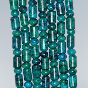 Shop Chrysocolla Rondelle Beads! 9X6MM Chrysocolla Quantum Quattro Gemstone Green Blue Round Tube Rondelle Loose Beads 15.5 Inch Full Strand (90182651-A139) | Natural genuine rondelle Chrysocolla beads for beading and jewelry making.  #jewelry #beads #beadedjewelry #diyjewelry #jewelrymaking #beadstore #beading #affiliate #ad