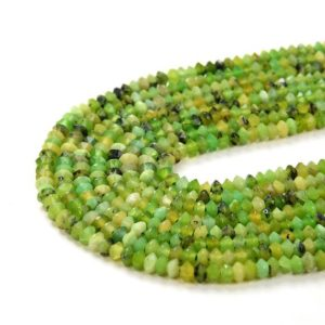Shop Chrysoprase Faceted Beads! 3x2MM  Chrysoprase Gemstone Grade AA Bicone Faceted Rondelle Saucer Loose Beads (P1) | Natural genuine faceted Chrysoprase beads for beading and jewelry making.  #jewelry #beads #beadedjewelry #diyjewelry #jewelrymaking #beadstore #beading #affiliate #ad