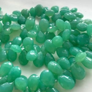 Shop Chrysoprase Bead Shapes! Chrysoprase colored chalcedony briolettes pears | Natural genuine other-shape Chrysoprase beads for beading and jewelry making.  #jewelry #beads #beadedjewelry #diyjewelry #jewelrymaking #beadstore #beading #affiliate #ad