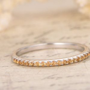 14K Yellow Gold Wedding Band Half Eternity Ring Yellow Citrine Engagement Ring Stackable Ring Pave Citrine Ring Citrine Wedding Ring | Natural genuine Array rings, simple unique alternative gemstone engagement rings. #rings #jewelry #bridal #wedding #jewelryaccessories #engagementrings #weddingideas #affiliate #ad