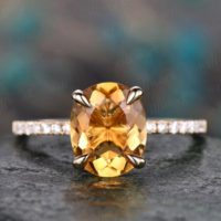 Natural Oval Citrine Engagement Ring Solid 14k Yellow Gold Citrine Ring Gold Real Diamond Ring November Birthstone Ring Wedding Bridal Ring | Natural genuine Gemstone jewelry. Buy handcrafted artisan wedding jewelry.  Unique handmade bridal jewelry gift ideas. #jewelry #beadedjewelry #gift #crystaljewelry #shopping #handmadejewelry #wedding #bridal #jewelry #affiliate #ad
