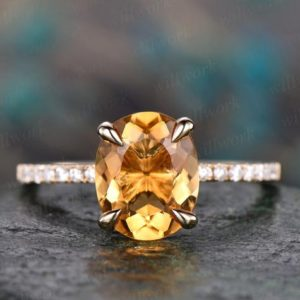 Natural oval citrine engagement ring solid 14k yellow gold citrine ring gold real diamond ring November birthstone ring wedding bridal ring | Natural genuine Array rings, simple unique alternative gemstone engagement rings. #rings #jewelry #bridal #wedding #jewelryaccessories #engagementrings #weddingideas #affiliate #ad