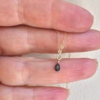 Sale Genuine Black Raw Diamond Briollete Necklace. Tiny Teardrop. April Birthstone | Natural genuine Gemstone jewelry. Buy crystal jewelry, handmade handcrafted artisan jewelry for women.  Unique handmade gift ideas. #jewelry #beadedjewelry #beadedjewelry #gift #shopping #handmadejewelry #fashion #style #product #jewelry #affiliate #ad
