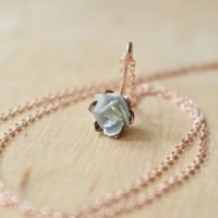 Raw Diamond Gemstone And 14k Rose Gold Fill Necklace, Pink Gold Flower Pendant, Blooming Lotus Flower Jewelry, Unique One Of A Kind Jewelry | Natural genuine Gemstone jewelry. Buy crystal jewelry, handmade handcrafted artisan jewelry for women.  Unique handmade gift ideas. #jewelry #beadedjewelry #beadedjewelry #gift #shopping #handmadejewelry #fashion #style #product #jewelry #affiliate #ad