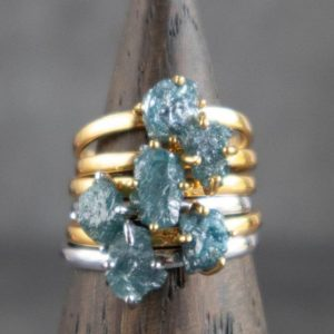 Blue Grey Diamond Ring, Uncut Diamond Ring, Conflict Free Natural Rough Blue Diamond Engagement Ring, Anniversary Ring in Silver and Gold | Natural genuine Array rings, simple unique alternative gemstone engagement rings. #rings #jewelry #bridal #wedding #jewelryaccessories #engagementrings #weddingideas #affiliate #ad