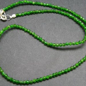 """Shop Diopside Necklaces! Natural Intense Forest Green Chrome Diopside Faceted Round 3mm Necklace From Russia – 18"""" 