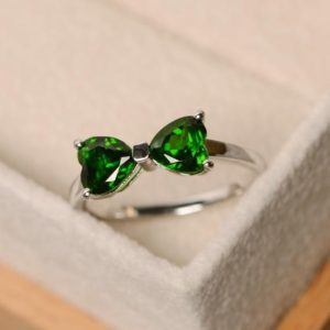 Shop Diopside Rings! Diospide Ring, Double Ring, Delicate Ring, Simple Ring, Chrome Diopside Ring, Green Gemstone   Natural genuine Diopside rings, simple unique handcrafted gemstone rings. #rings #jewelry #shopping #gift #handmade #fashion #style #affiliate #ad